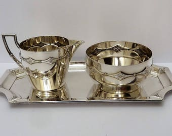 WMF - Art Nouveau silverplated sugar and cream set