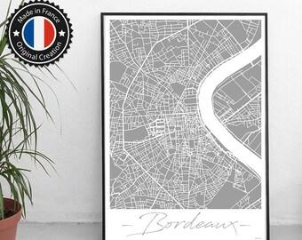 Poster Bordeaux France Unicolor Map - City Map, Street Map