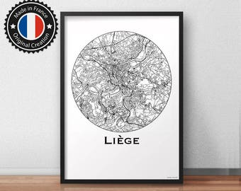 Poster Liège Belgium Minimalist Map - City Map, Street Map