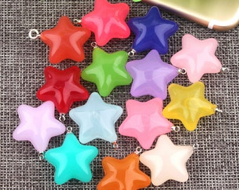 10Pcs 23mm Jelly Star Charm,Acrylic Star Pendants for Key Chain/Necklace Diy Charms Pendant Jewelry Accessories