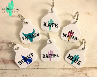 Mini White Cattle Tag Keychain - Cattle Tag Keychain - Ear Tag Keychain - Custom Keychain - Western Keychain - Cactus Keychain