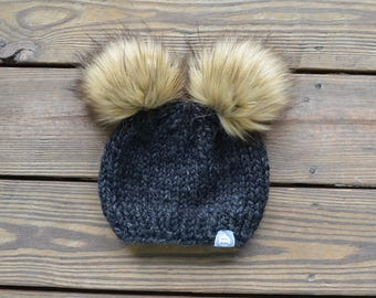 Pom Pom Beanies, Fur Pom Pom Hat, Fur Pom Pom Beanies, Unique Gift for Friends, Double pom pom hat, Pom Pom Hat, Faux Fur Hat, Pom Beanie
