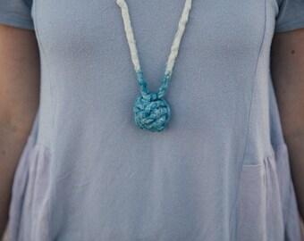 Indigo Dyed Monkey Knot Necklace