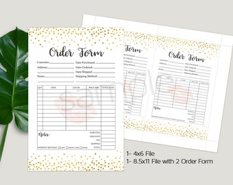 Lipsense Order Form, Invoice Sheet, Customer Order Form, Invoice Form, Gold Confetti, Letter Size, A4 Size, 4x6, 8.5x11, INSTANT DOWNLOAD