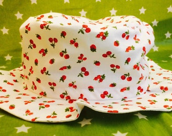 Summer Hat adjustable Cherry to a white background