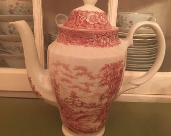 Red Transferware Memory Lane British Anchor Coffee Pot Excellent Vintage Condition England Made