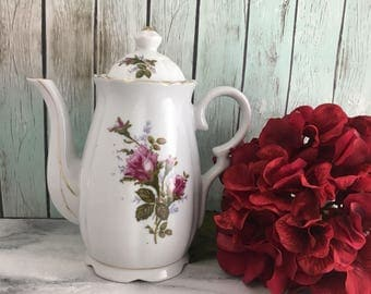 Moss Rose Coffee or Tea Pot Vintage Japan Lovely!