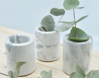 Marbled concrete mini pots TRIO, set of 3 mini concrete vessels, succulent planters, marbled concrete cactus pots