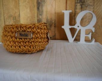 sisal basket, crochet basket, handmade
