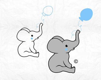 elephant baby balloon boy SVG Clipart Cut Files Silhouette Cameo Svg for Cricut and Vinyl File cutting Digital cuts file DXF Png Pdf Eps