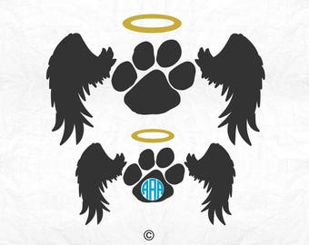 Wings svg, Dog svg, Paw print svg, Angel Heart svg, Rip svg, Heaven love svg, Memory of svg, Cricut, Cameo, Clipart, Svg, DXF, Png, Pdf, Eps