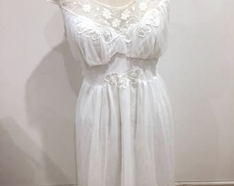 Vintage, 50s, 60s, Sz 38, Sz 10, Sheer, Nightgown, White, Styled by Carillon Excellent Rare!