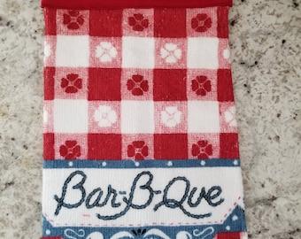 Hanging Kitchen Towel/Red Bar-B-Que Towel