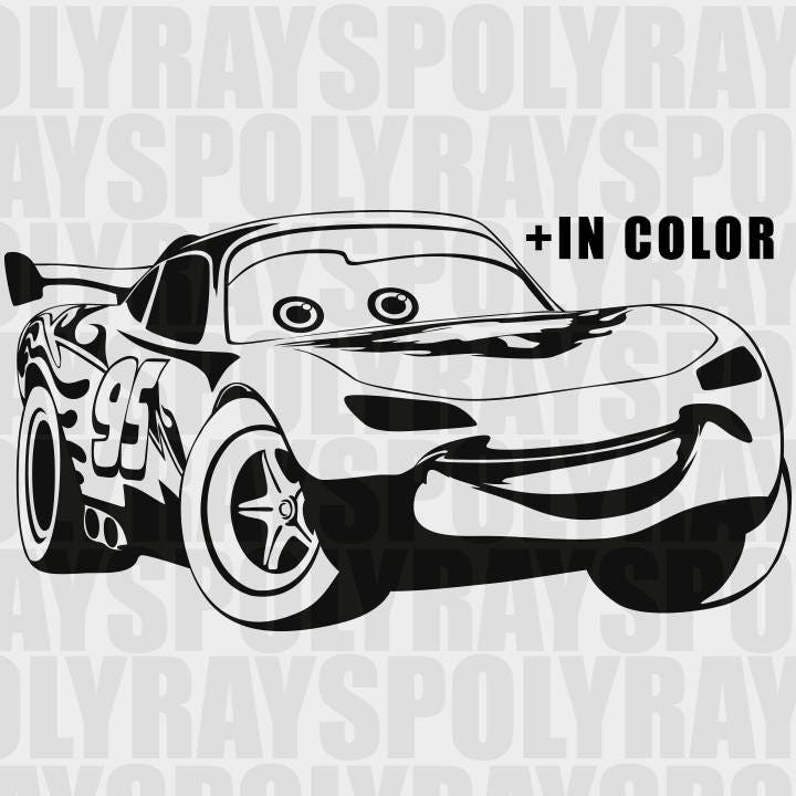 Lightning McQueen Svg Car Instant Download Disney McQueen - Lightning mcqueen custom vinyl decals for carcars lightning mcqueen disney decal sticker window new colorwhi