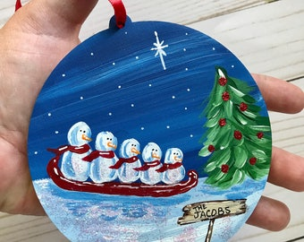 Family Christmas ornament - Personalized Family Christmas Gift - Custom Family Ornament - Kerley Crafts - Kerleycrafts - Gift Idea - snowman