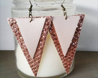 Soft PinkFaux Leather/Ros Gold Glitter Dangle Earrings
