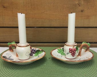 Mid century ESD Japan hand painted candlestick holders. Thumb rest candlestick holder. Jack be Nimble. Grapes and leaves pattern. Numbered.
