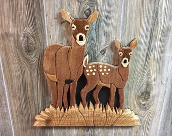 Doe and Fawn Intarsia