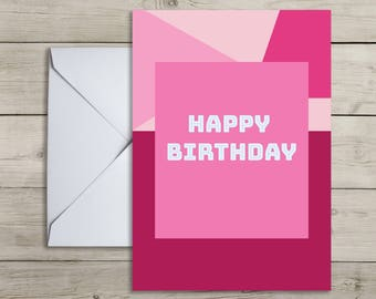 Happy Birthday Card - Simple, PINK, Portrait