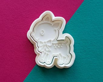 Ribbon Deer Cookie Cutter and Stamp