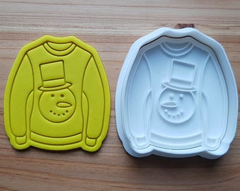 Ugly Sweater(Snowman) Cookie Cutter and Stamp