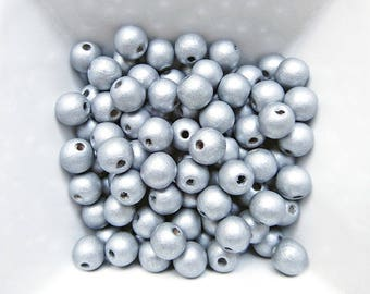 50 beads 8 mm silver color wood