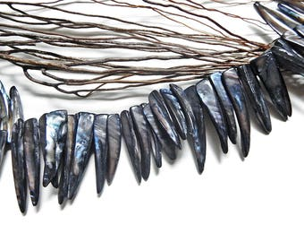 6 beads tip mother of Pearl shell grey/black