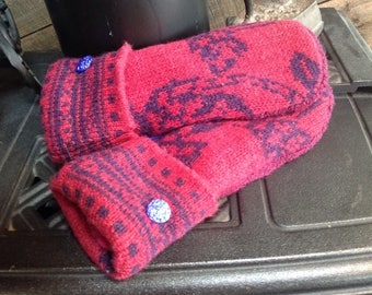 Warm  cranberry upcycled sweater mittens with vintage glass buttons, ladies medium