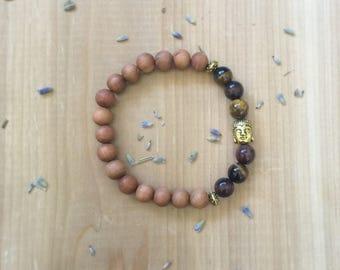 Tiger Eye Bracelet, Mixed Tiger Eye Beads, Natural Untreated Sandalwood, Gold Buddha Charm
