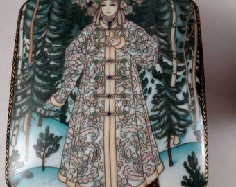Heinrich Germany Trinket Box SNOW MAIDEN Russian Fairy Tales 2 X 3 1/2 X 5 1/2 ""