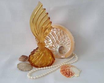 Amber Glass Perfume Bottle, Wing Shape Stopper