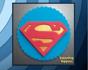 Super Hero Fondant Superman Cupcake Toppers ( Superman Cake Topper, Justice League Birthday, Super Girl, DC Super Hero Girls, DC Comics )