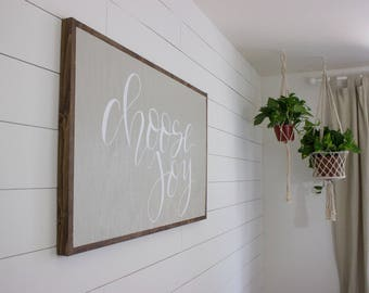 Choose Joy -  White on Gray - framed sign - hand lettered sign - fixer upper - hand painted sign - farm house decor