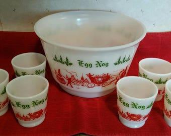 Vintage Hazel Atlas 7 piece Milk Glass Egg Nog Bowl and 6 cups set