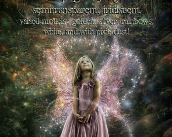 Digital fairy wings, clipart overlay , png on transparent background, varied models and colors, iridiscent, with fairy dust and reflects
