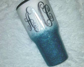 Teal and White Ombre Custom Glitter Tumbler