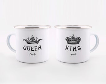 Couple Mugs,Enamel Mugs,Engagement Gifts for Couples,King and Queen Mug Set,Personalized Wedding Gift Ideas,Couples Gift Ideas, Anniversary
