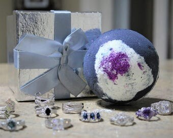 Bath Bomb with Sterling silver 9.25 Ring, Effervescent Bath Bomb, Surprise Bath Bomb, Christmas Gift, Women's Gift, +/- 9.7 oz