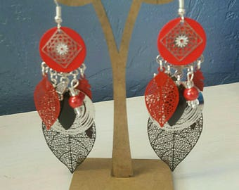 earrings, red and black
