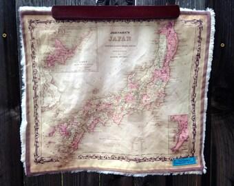 JAPAN map blanket - baby minky security blankie - small travel blanky, lovie, lovey, woobie - 15 by 17 inches