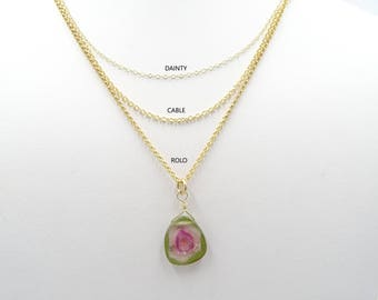 Watermelon Tourmaline necklace Tourmaline slice tourmaline jewelry gemstone necklace Valentine's gift for her Crystal necklace