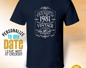 Premium Vintage since 1981, 37th birthday gifts for Men, 37th birthday gift, 37th birthday tshirt, gift for 37th Birthday