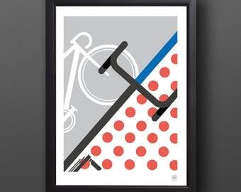 Bike Art, Abstract Tour de France Print - KING of THE MOUNTAIN