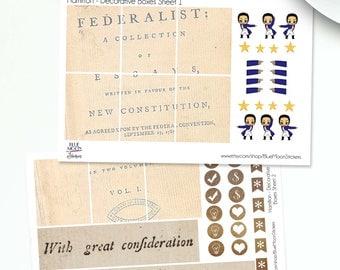 Alexander Hamilton themed Erin Condren Planner Weekly Sticker Set