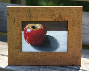 Framed Original Painting-Solitary Apple
