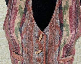 Southwest Clothes Boho Vest Wool Vest Women Vest Boho Clothing Southwest Style Aztec Style Wool Vest Blanket Vest Vintage Vest Vintage Women