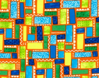 Dino-Myte Flannel - 61300-7 - Blocks & Squares Orange - from Exclusively Quilters