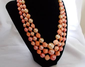 Vintage 1950's Lucite Necklace Peach Pearls Multi Strand 18 Inch Signed Hong Kong FREE PAID Shipping