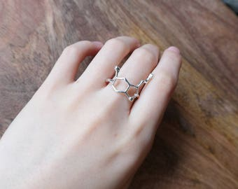Geometric Molecule/ Sarotonin Silver Rings/ Necklace Sterling  For Women Jewelry