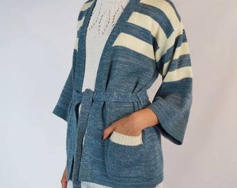Vintage 1970's Arylic Blend Long Wrap Cardigan Size Small